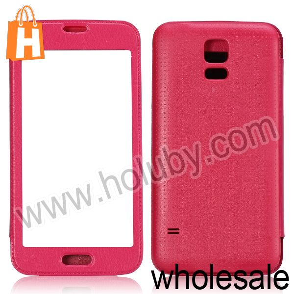 for Samsung Galaxy S5 Leather Case,Call Window Battery Cover Leather Case for Samsung Galaxy S5 I9600 G900