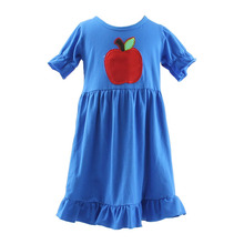Hot sale baby dress with apple girls dresses 2017 new arrival girls dresses age 10