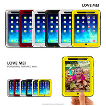 Alibaba China LOVE MEI Aluminum Metal waterproof With Gorilla Glass case for ipad mini 2