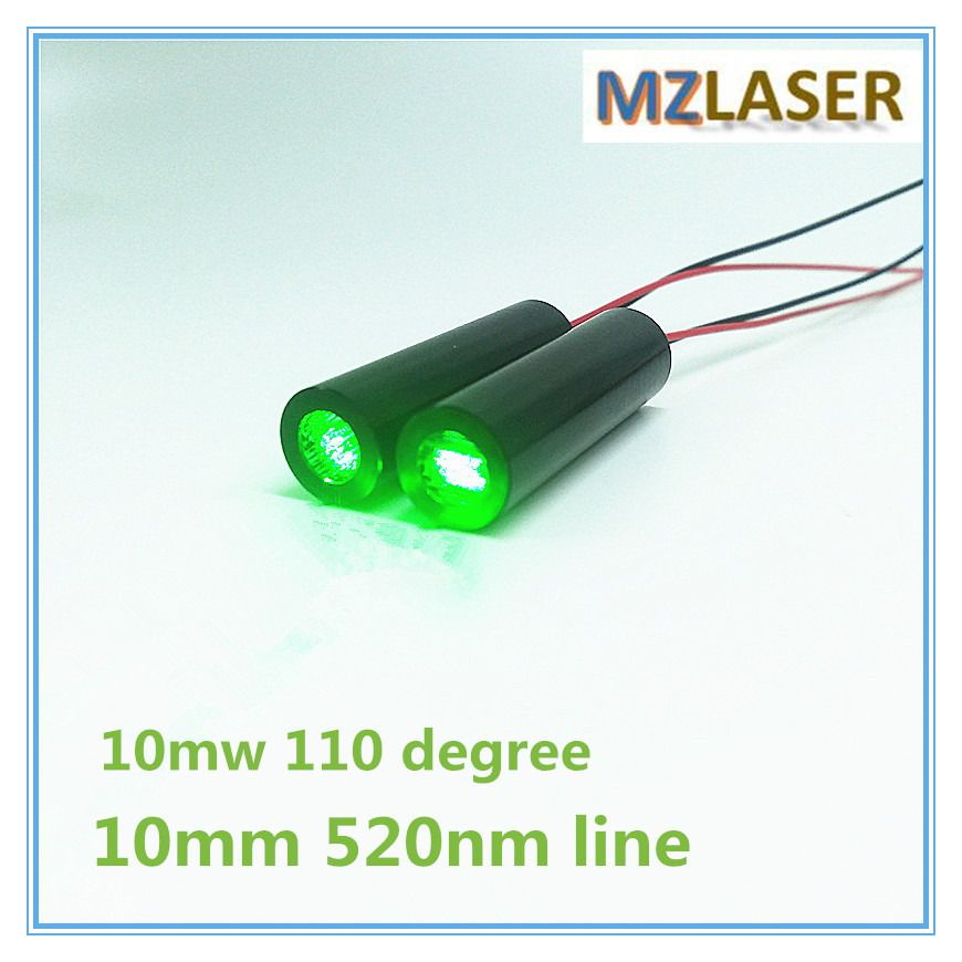 D10mm 520nm 10mW 110 Degree Green Line Laser Diode Module Industrial Grade APC Driver