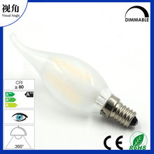 Frosted Glass Cover LED Filament Candle Light Bulb C35T With Flame Shape Bent Tip