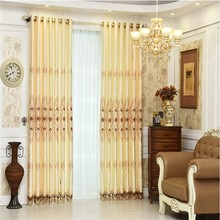 Blackout embroidery curtains with satin lining