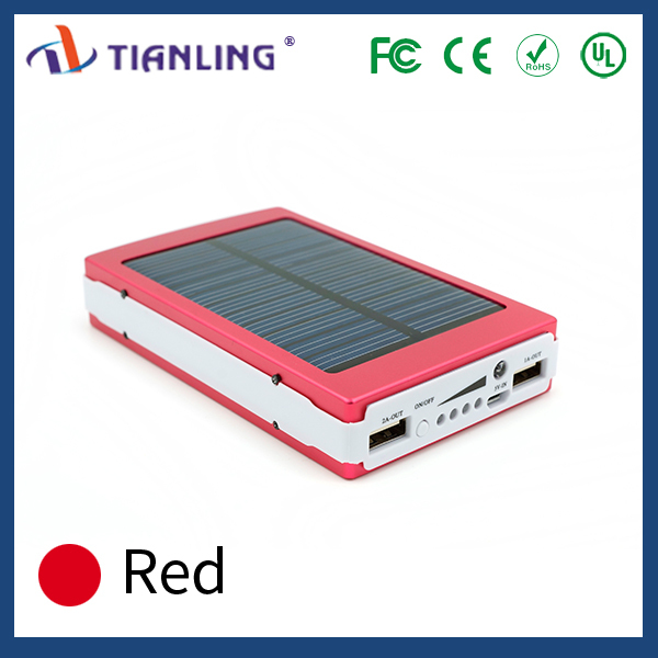 In white and red dual USB practical solar power bank 12000mAh for mobile phone