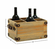 Custom logo wooden wine carrier 6 bottle crate with leather handle