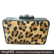 Faux Horse Hair Fashion Party Clutches Hard Box Case Evening Bag