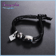 Custom designed stainless steel black locket leather bracelet