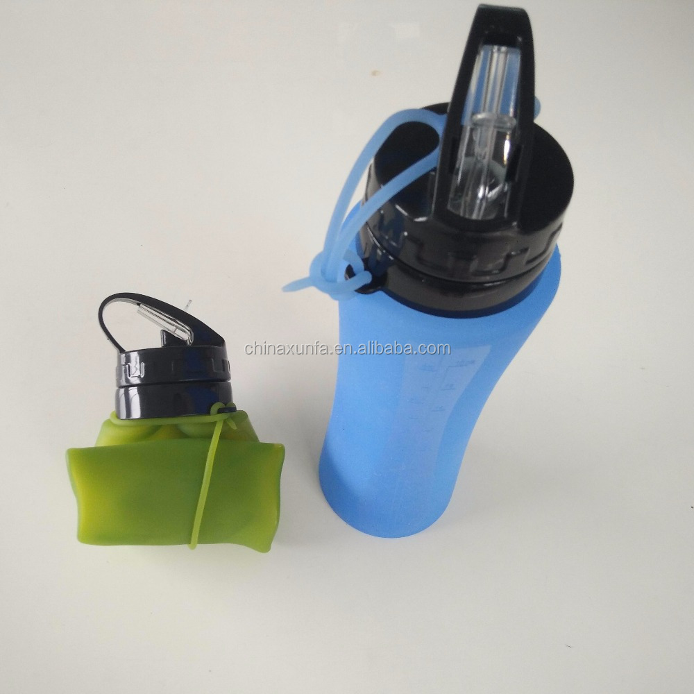 Cheap portable collapsible sport silicone plain water bottle