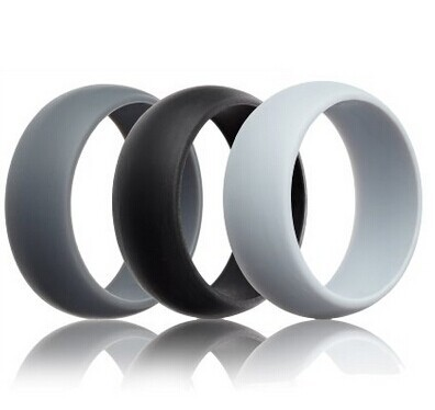 MOQ 100pcs in Your Logo Mens Silicone Wedding Ring Wedding Band - 3 Rings Pack - 8.7mm Wide 2mm Thick Black, Gray, Light Gray