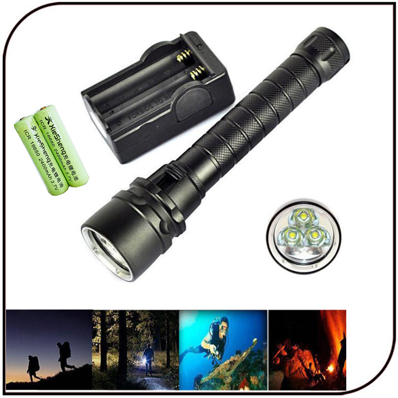 3000 lumen led flashlight diving depth 50M 2pc 18650 battery magnetically controlled switch 5 mode cree t6 led diving flashlight