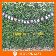 "Bridal Shower Decoration - Bachelorette Hen Party Banner ""From Miss To Mrs"" Black, White & Red Bunting"