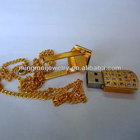 Golden color with necklace flash memory usb driver