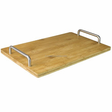 Bamboo Serving Tray with Stainless Steel Handles Modern Fruit and Cheese Platter Board