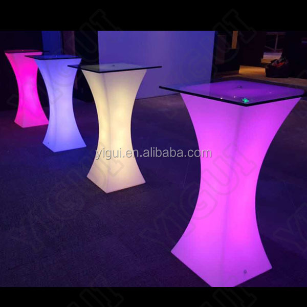 Big size nail bar tables with nail polish and LED light/glowing cocktail bars&led light table