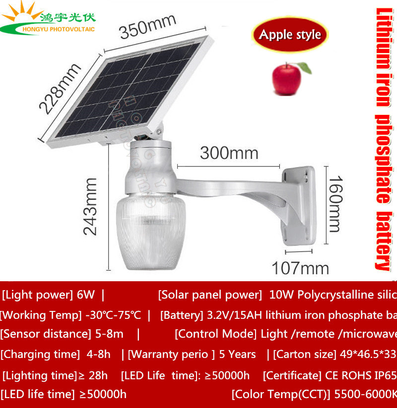 All in one LED light control/Sensing control/microwave control solar garden light with apple shape