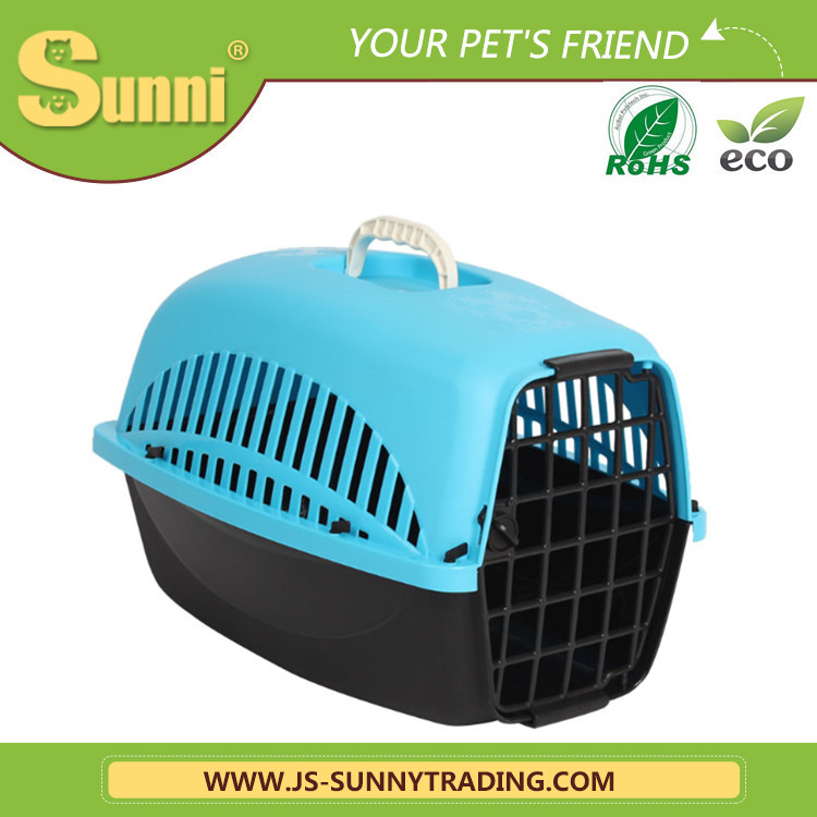 Small folding plastic pet carrier