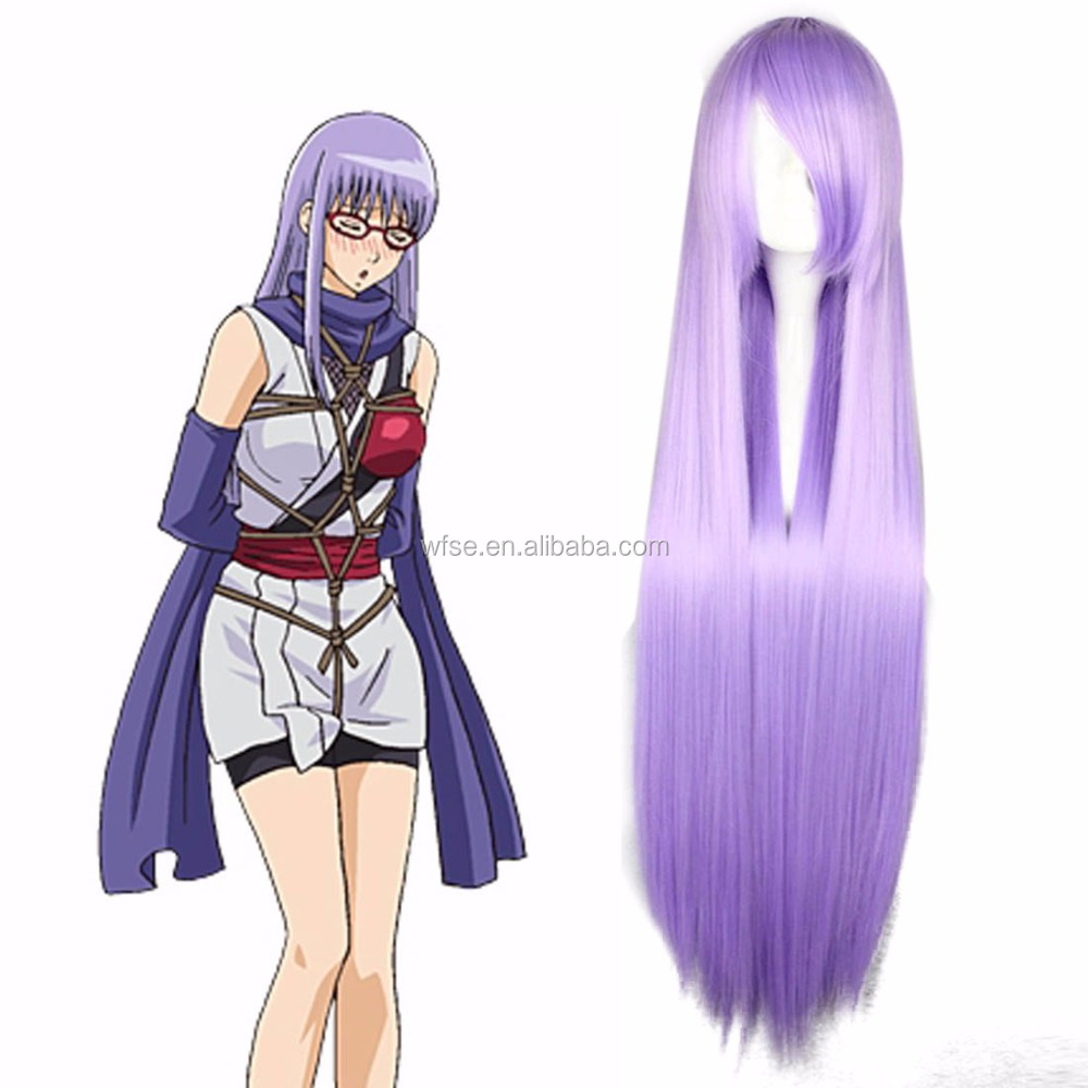 Free Shipping New Style Halloween Gin Tama Sarutobi Ayame Beauty Lavender Purple Long Straight Cosplay Wig