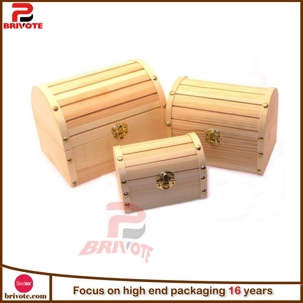 Unfinished Wood Treasure Chest ~ Custom unfinished wood treasure box chest buy