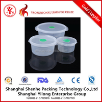 Durable Round White Plastic PP Food Container with Seal Lid