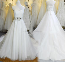 High Quality Strapless Crystal Pleats Wedding Dress Sweetheart Gowns White/Ivory/Champagne Wholesale