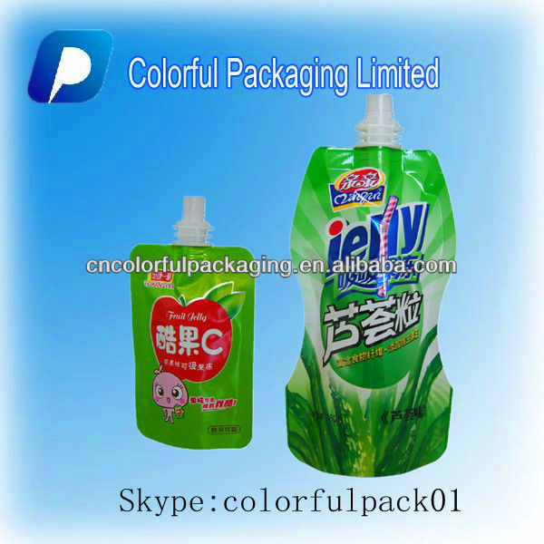 Juice pouches jelly plastic bags spout stand up pouches