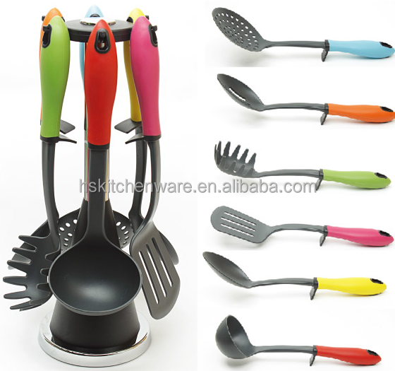 2015 high Quality 6pc Colorful Kitchen Utensil Set /Cooking Utensils Sets with Roating Hanging Stand 1288A