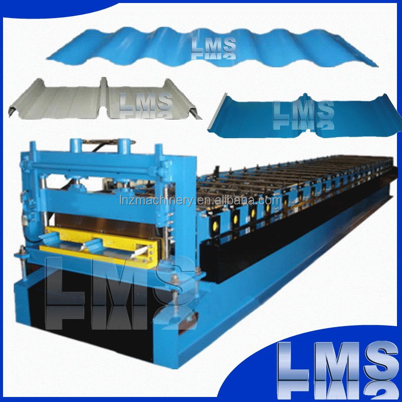 LMS double rib trazoidal corrugated metal pannel glazed tile roof roll forming machine