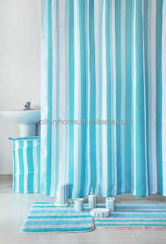 Stripe Design Shower Curtain With Bathroom Door Mat And Ceramic Bath Accessories Set