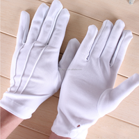 Wholesale top quality cheap white ceremonial button nylon work gloves for men military parade