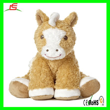 cuddly stuffed soft plush sitting horse toy with Pink brown color