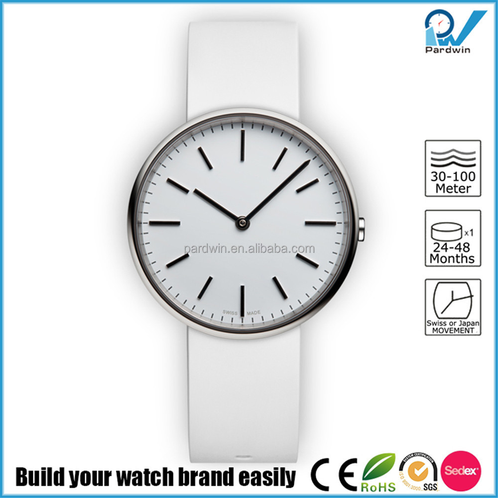 Polished stainless steel case genuine leather strap japan movement rubber fashion quartz wrist watch
