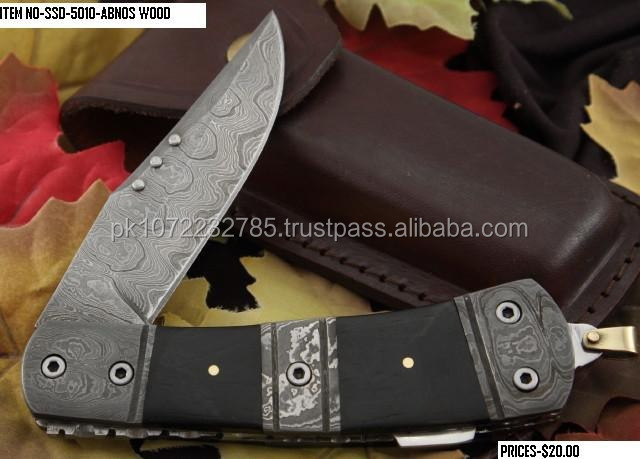 Damascus Folding Knife hand made pakistan folding knife all natural material on handles
