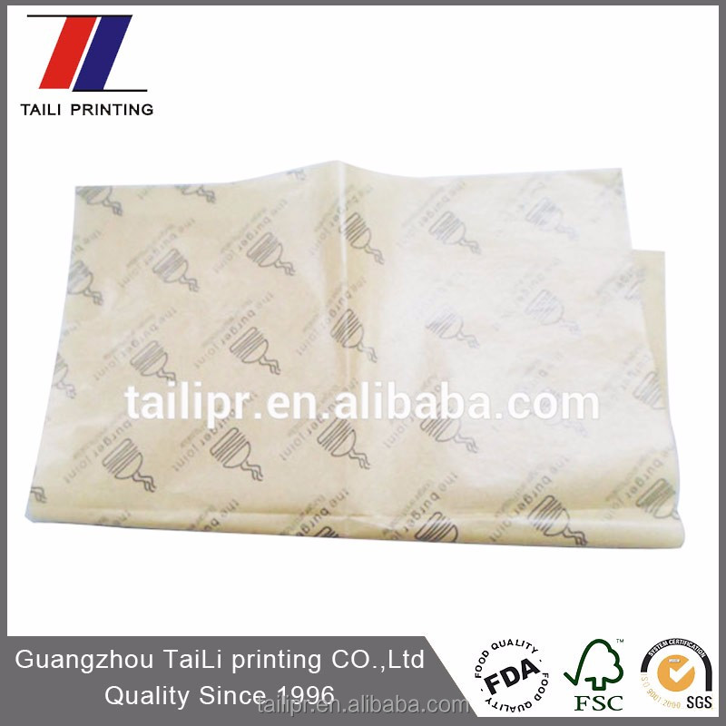 Custom Food Grade Greaseproof Paper Burger Wrap