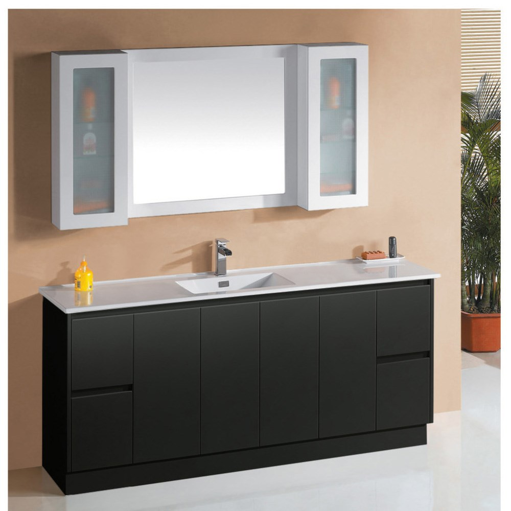 1200mm modern high glossy black bathroom cabinet with make up cabinet