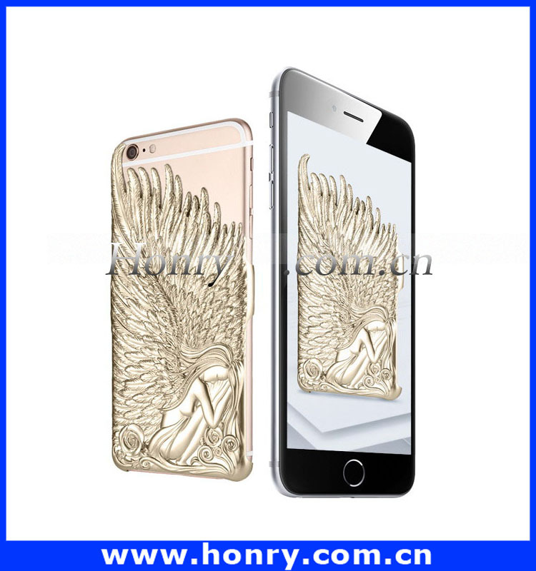 Angel Wings mobile phone 3D sublimation hard metal case for apple iphone
