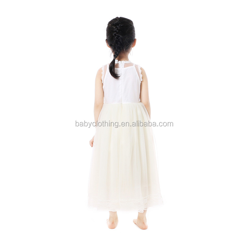 Hot sell summer birthday cocktail party kids wear White sleeveless princess dress party dress for baby girl