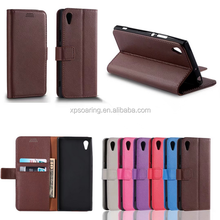 Lychee skin wallet flip leather case for Sony Xperia E6/L1