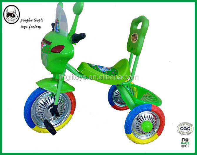 Plastic kids trike with soft handel and plastic feet pedal