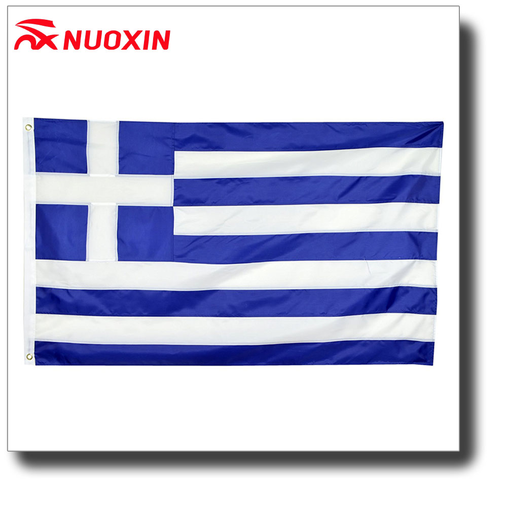 Wholesale polyester blue white line 3*5ft national country Greece flag