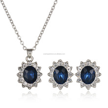 Fashion Royal Blue Crystal Jewelry Sets Diana Princess Style Earring Necklace Sets For Woman