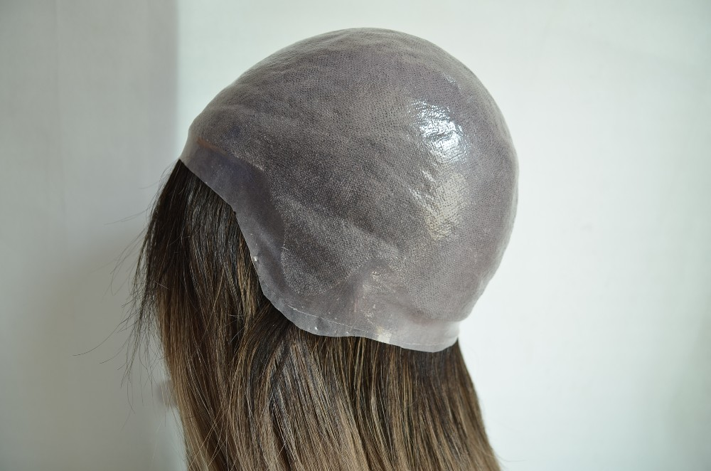 Transparent Thin Pu Skin Human Hair Wig With Naturla Outlook.