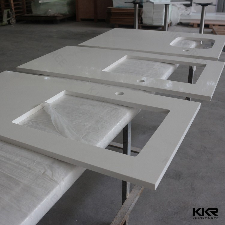 Polished cut hole solid surface countertop
