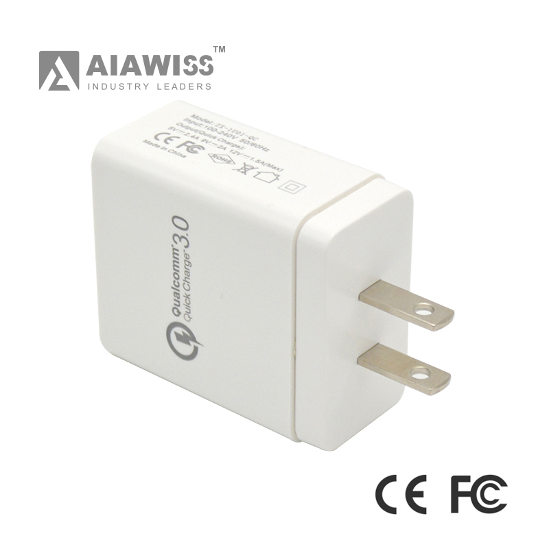 AIAWISS AWC01 Qualcomm Quick Charge 3.0 USB smart portable Charger, Travel Charger QC3.0 USB Wall Charger adapter EU/US plug