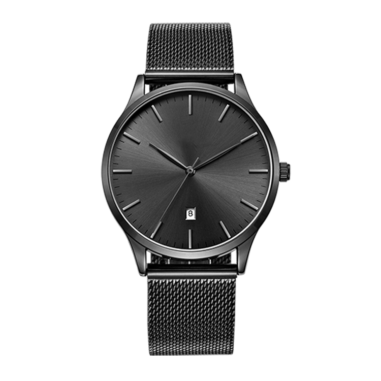 Simple style all black sunray dial stainless steel mens wrist watch with date window