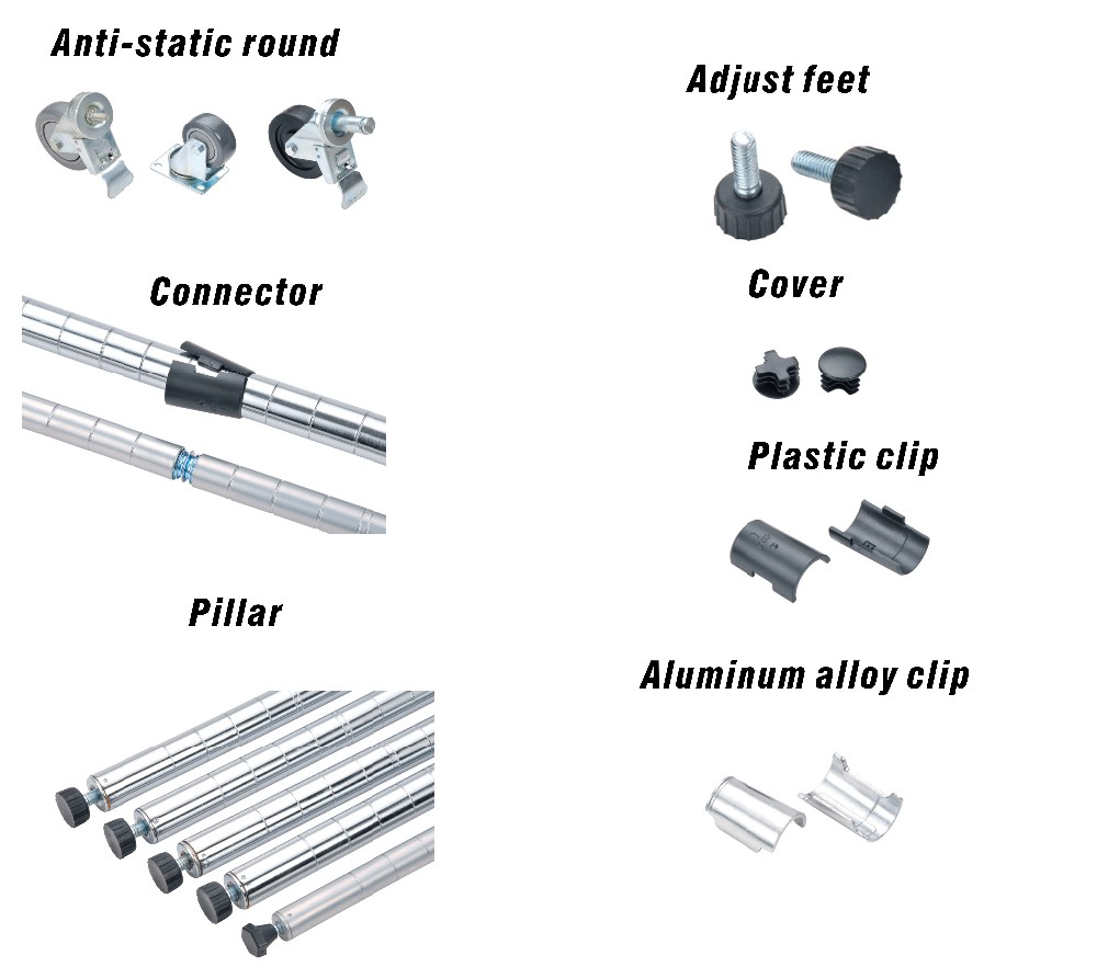 The accessories of the wire shelf(Auti-static-round,Adjust feet,Connector,Cover,Plastic clip,Pillar,Aluminum alloy clip)