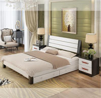 cheap solid wood double bed designs with drawer