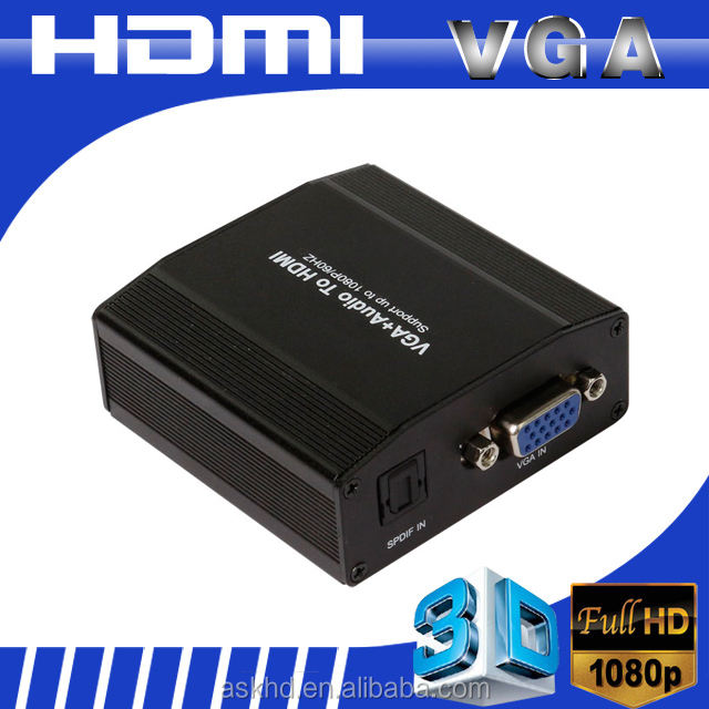 1080P VGA to HDMI Converter Adapter Box Audio Port VGA Extension Cable Mini USB Power Cable 3.5mm Audio