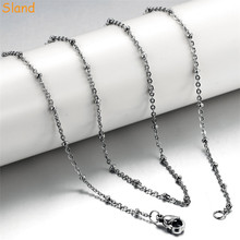 wholesale 316l stainless steel jewelry curb bead satellite necklace small stainless steel chain