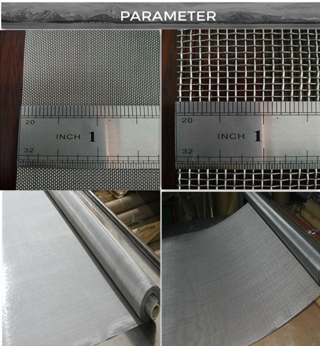 Custom high temperature ultra 70 80 100 200 300 400 500 micron 304 stainless steel fine mesh Woven wire mesh price  per meter