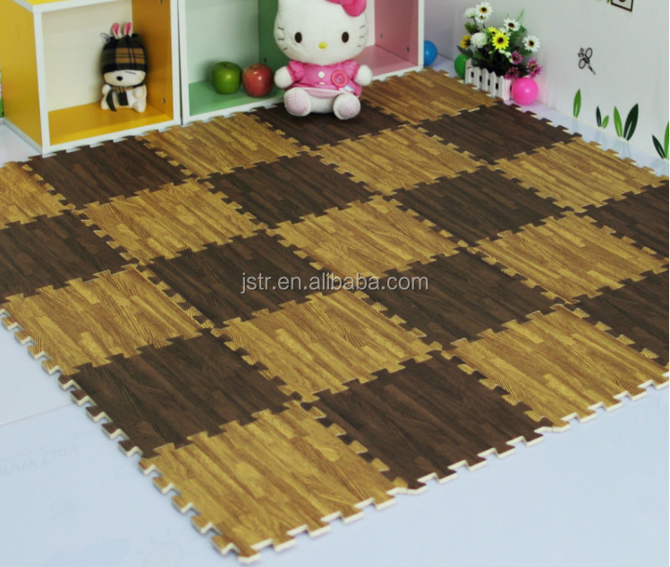 4 Pack of 24'' x 24'' Interlocking Wood Grain Mats