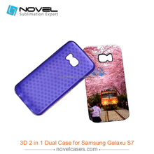 High quality durable 3D 2in1 case for Samsung S7,diy phone cover